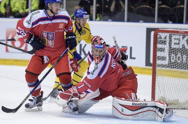 Český brankář Jakub Kovář v utkání turnaje Karjala proti Švédsku.