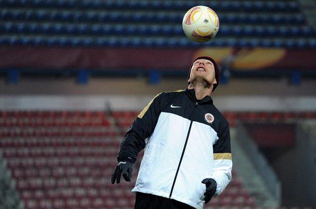 Jiří Jarošík během středečního tréninku před utkáním Evropské ligy mezi Spartou a Chelsea.