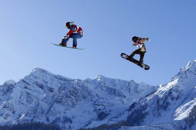 Trénink na olymijský slopestyle na ZOH v Soči.