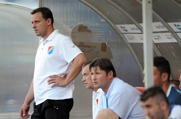 Ostravský trenér Martin Svědík během utkání v Plzni.