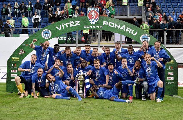 Liberec po vítězství ve finále Poháru FAČR proti Jablonci.