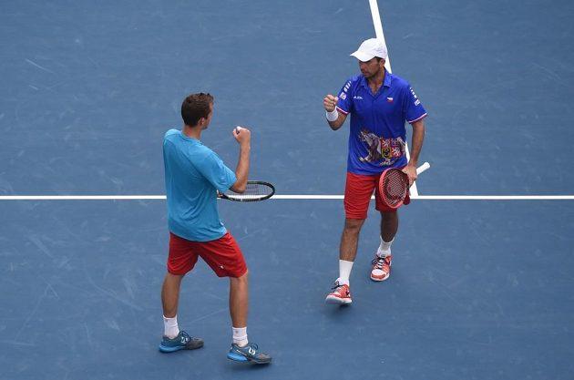 Čeští tenisté Adam Pavlásek a Radek Štěpánek v zápase proti Indickému páru Rohan Bopanna, Leandr Paes v baráži DC.