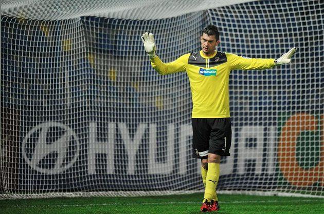Brankář Plzně Matúš Kozáčik během utkání v Liberci.