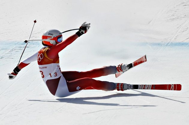 Švýcarka Michelle Gisinová se do cíle sjezdu na olympiádě nepodívala.
