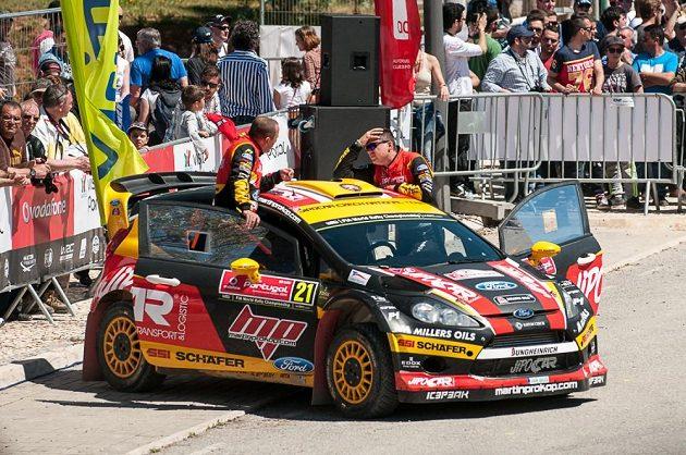 Martin Prokop (vpravo) a Jan Tománek při Portugalské rallye 2014.