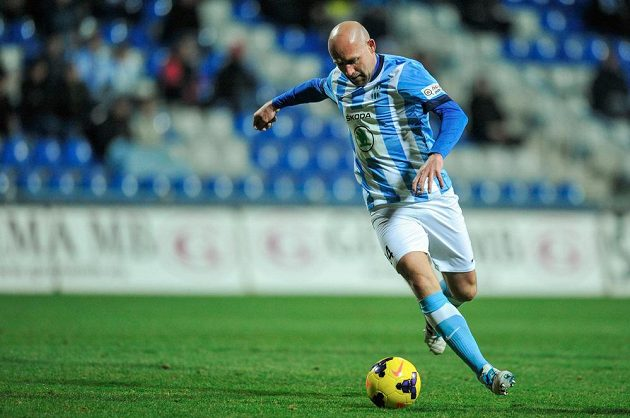 Jiří Štajner z Mladé Boleslavi v utkání 20. kola Gambrinus ligy s Duklou Praha.