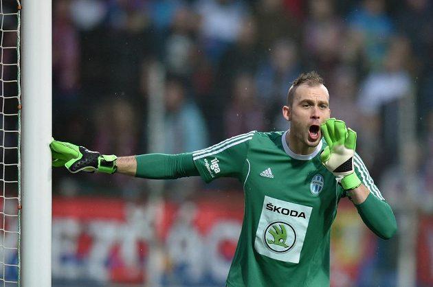 Brankář Mladé Boleslavi Jakub Diviš v zápase proti Plzni.