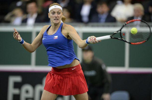 Petra Kvitová během úvodního utkání s Golubicovou.