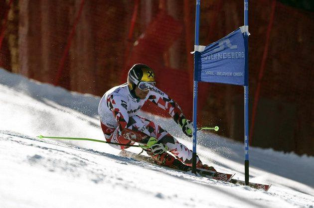 Rakouský lyžař Marcel Hirscher na trati prvního kola obřího slalomu na MS v Beaver Creeku.
