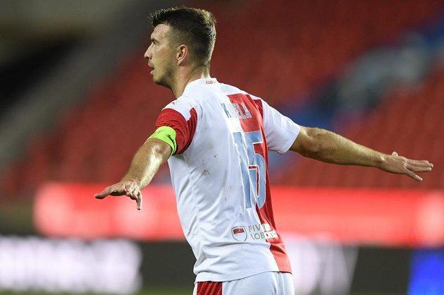 Ondřej Kúdela ze Slavie se raduje z druhého gólu.