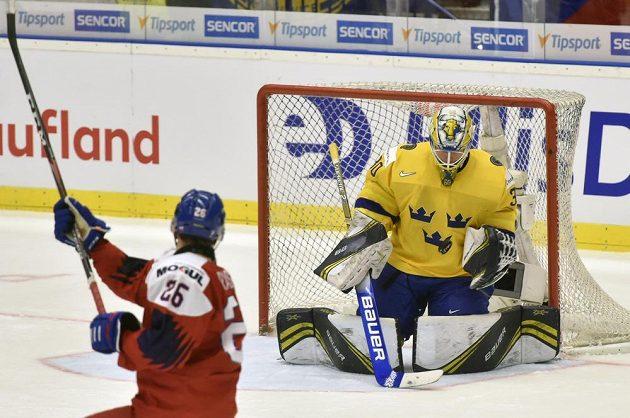 Adam Raška se marně snaží překonat brankáře Švédů Huga Alnefelta.
