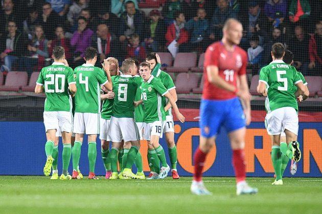 Severní Irové se radují z gólu.