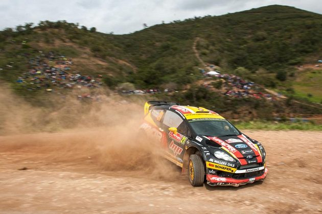 Martin Prokop při Portugalské rallye 2014 s Fordem Fiesta WRC.