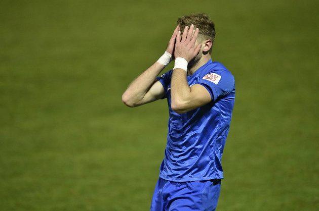 Imad Rondić z Liberce vstřelil gól, který ale kvůli ofsajdu rozhodčí neuznal.