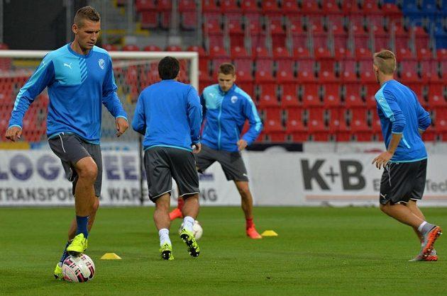 Plzeňští fotbalisté si ve středu odpoledne zatrénovali před úvodním zápasem play off Evropské ligy s Vojvodinou Novi Sad.