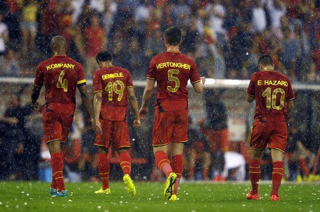 Padající kroupy donutili fotbalisty Belgie opustit hrací plochu.
