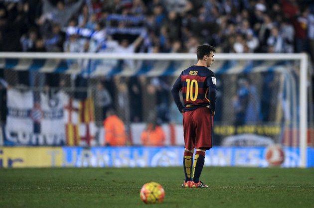Lionel Messi z Barcelony během utkání s Espaňolem.