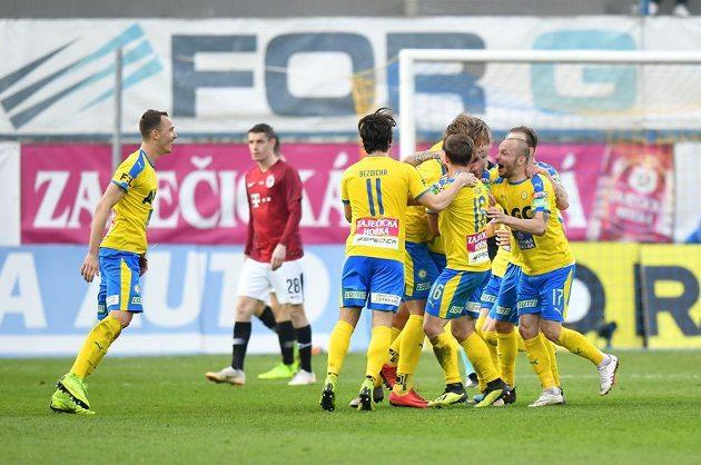 Teplická radost po gólu proti Spartě.