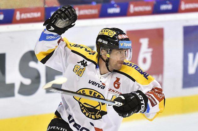 Jakub Petružálek z Litvínova se raduje z gólu.