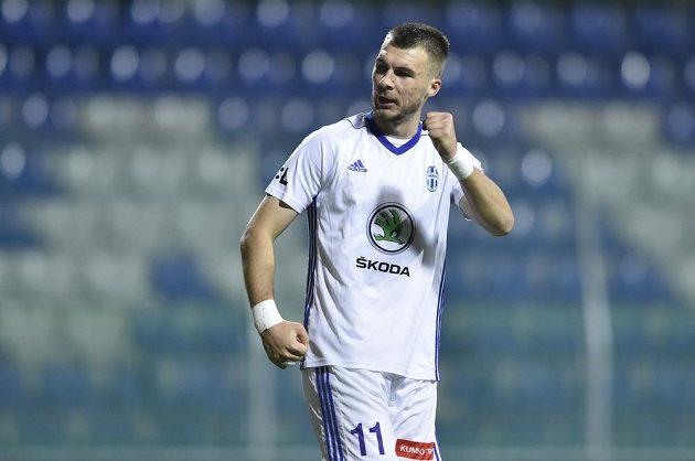 Kanonýr Nikolaj Komličenko z Mladé Boleslavi sice tentokrát gól nedal, ale z vítězství nad Bohemians měl pochopitelně radost.
