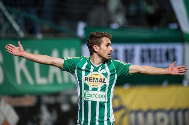 Dominik Mašek z Bohemians oslavuje gól na 1:1 během utkání čtvrtfinále MOL Cupu, Bohemians 1905 - FK Mladá Boleslav.