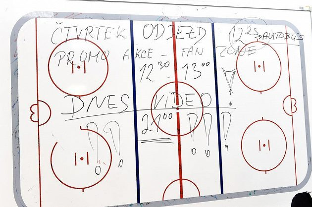 Tabule pro taktické nákresy může mít i jiné využití. Kabina české hokejové reprezentace v O2 areně den před MS.