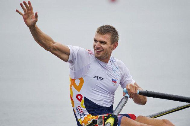 Letní olympijské hry Rio de Janeiro 2016, 12. srpna, veslování, skif muži, semifinále. Ondřej Synek se raduje z postupu do finále.