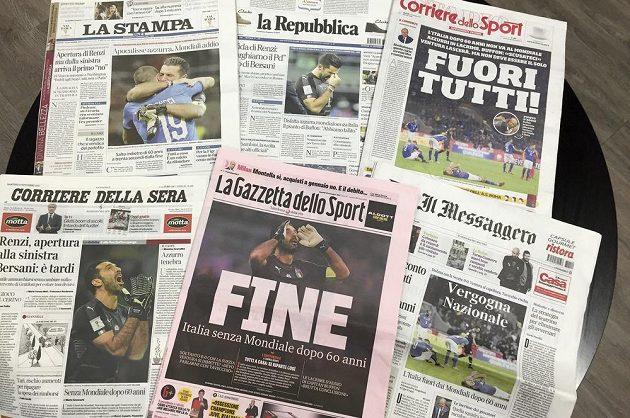 Komentáře italských deníků se po nevydařeném vystoupenífotbalistů v baráži nesou v kritickém tónu.