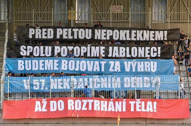 Transparent libereckých fanoušků.