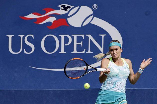 Tereza Martincová při utkání prvního kola US Open s Francouzkou Caroline Garciaovou.