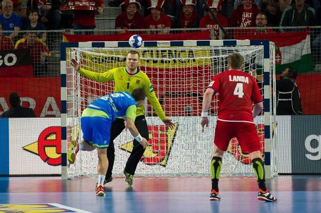 Brankář Tomáš Mrkva zasahuje proti slovinskému střelci. Vpravo Jan Landa.