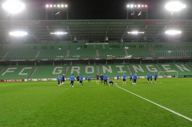 Fotbalisté Liberce trénují na stadiónu Groningenu.