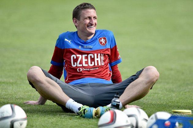 Tomáš Grigar během tréninku české fotbalové reprezentace před utkáním kvalifikace ME 2016 na Islandu.