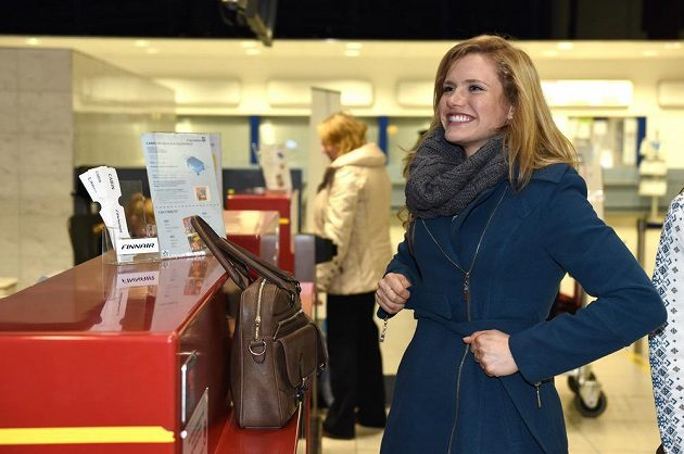 Biatlonistka Gabriela Soukalová na letišti Václava Havla před odletem na přípravný kemp do Finska.