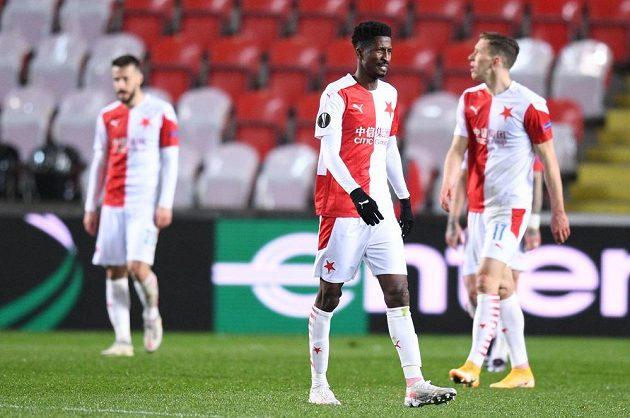 Zmar fotbalistů Slavie během odvety čtvrtfinále Evropské ligy proti Arsenalu.