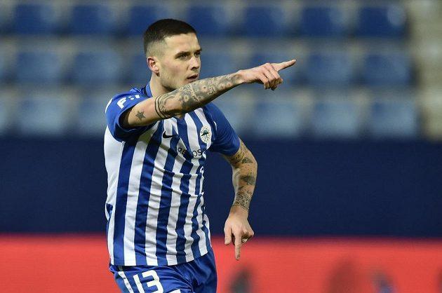 Roman Potočný z Liberce se raduje z gólu.
