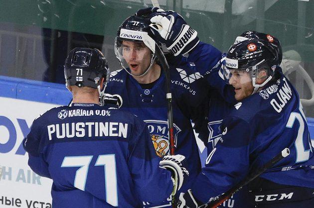 Finská radost po trefě proti české reprezentaci na Channel One Cupu.