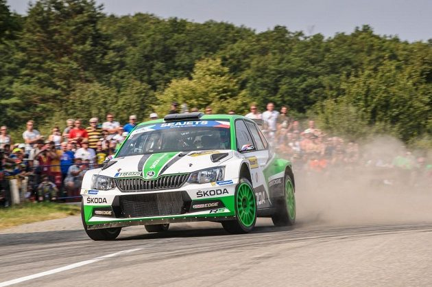 Jan Kopecký se Škodou Fabia R5 při Barum rallye 2018.