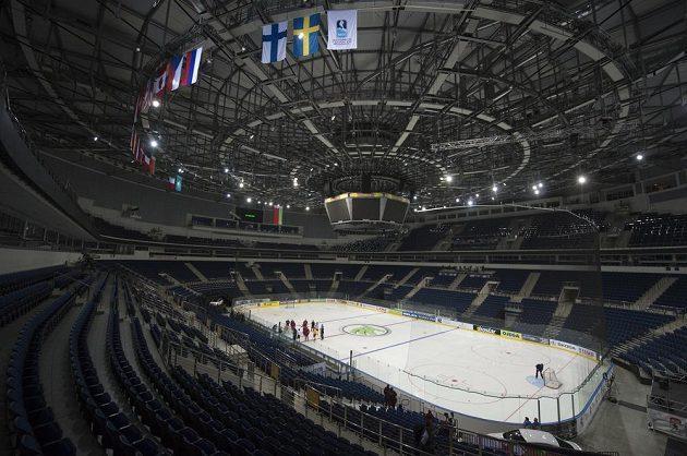 Hráči české reprezentace nastoupili v Minsk Areně v Minsku k tréninku před sobotním semifinále mistrovství světa hokejistů proti Finsku.