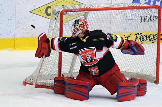 Královéhradecký brankář Pavel Kantor v utkání proti Karlovým Varům.
