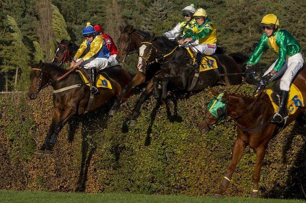 Koně překonávají Taxisův příkop, vlevo je pozdější vítěz dostihu sedmiletý hnědák Tzigane Du Berlais v sedle s Janem Faltejskem.