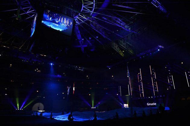 Záběr ze slavnostního zahájení halového mistrovství v atletice.