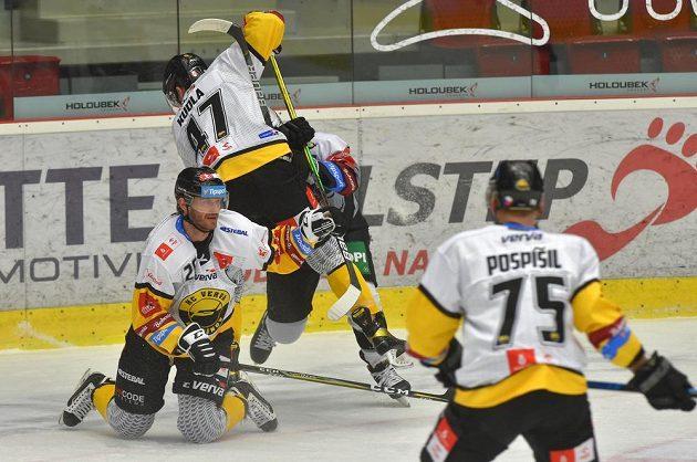 Zleva Patrik Zdráhal z Litvínova, Patrick Kudla z Litvínova, Tomáš Redlich z Karlových Varů a Tomáš Pospíšil z Litvínova.