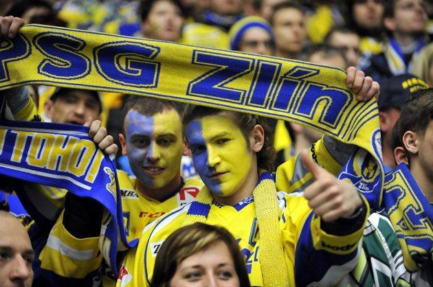 Fanoušci Zlína během zápasu s Brnem.