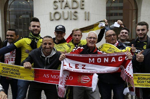 Fanoušci Monaka a Dortmundu před odvetným čtvrtfinále Ligy mistrů.