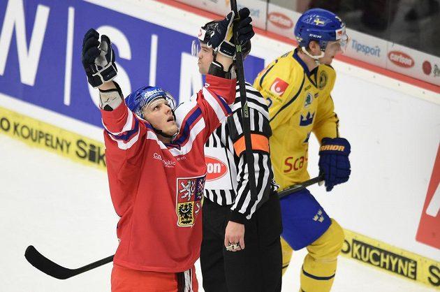 Radim Šimek se raduje z gólu proti Švédům na turnaji EHT v Českých Budějovicích.