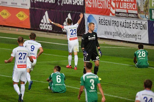 Lukáš Budínský z Boleslavi se raduje ze vstřeleného gólu.