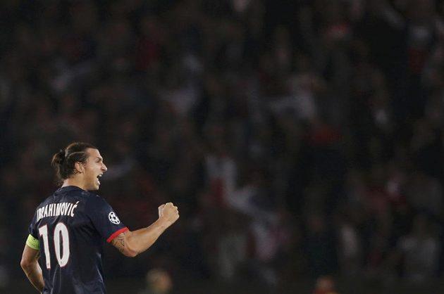 Radující se útočník PSG Zlatan Ibrahimovic