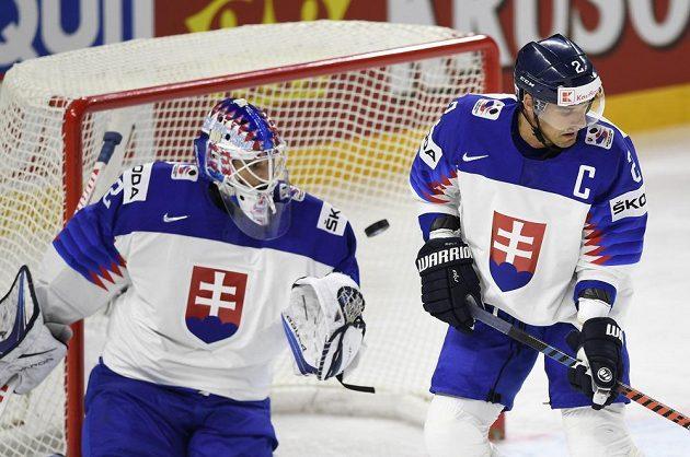 Zleva Slováci Patrik Rybár a Andrej Sekera při utkání s Rakušany.