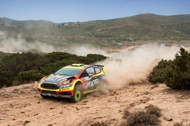 Martin Prokop s Fiestou WRC během závodu mistrovství světa.